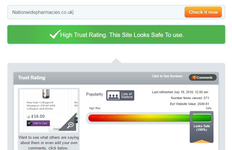 Nationwidepharmacies.co.uk Trust Rating by Scamadvisor