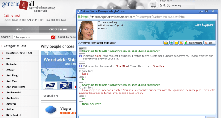 Customer Service Support via Live Chat on Generic 4 All Global