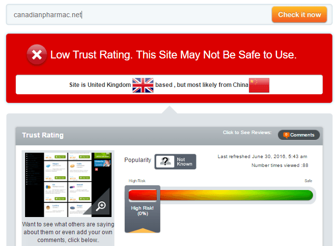 Trust Rating of Canadianpharmac.com by Scamadvisor