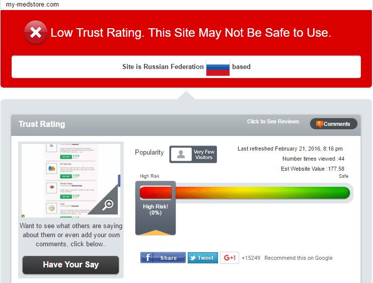 My-medstore.com Trust Rating