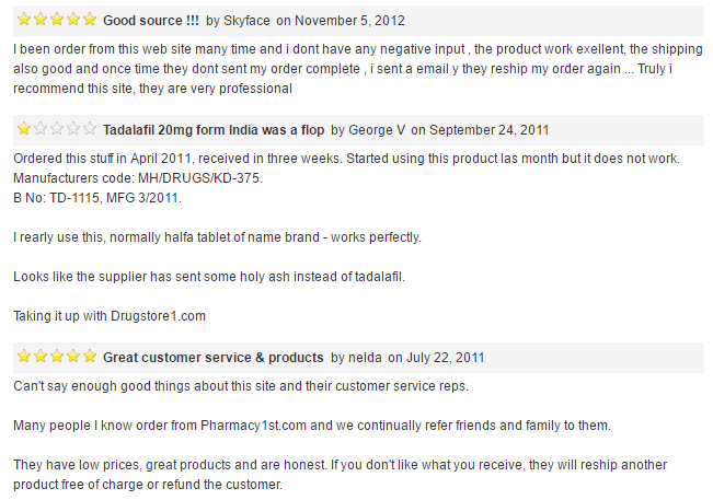 Drugstore1st.com Reviews