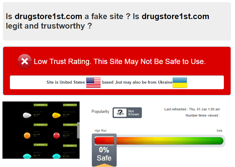 Trust Rating for DrugStore 1st by Scamadvisor