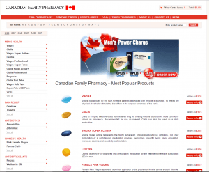 Home Page of Canadian Family Pharmacy