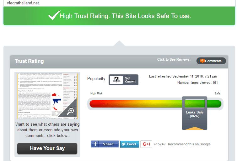Viagra Thailand Trust Rating by Scamadviser