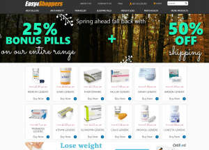 Front Page of EasyForShoppers.com