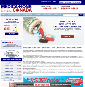 Front Page of MedicationsCanada.com