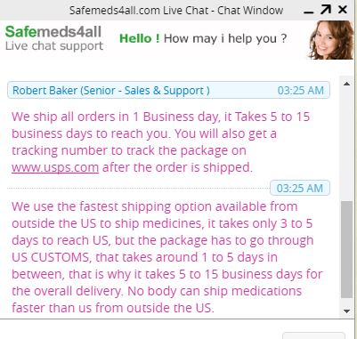 Chatting with Customer Service Representative of Safemeds4all