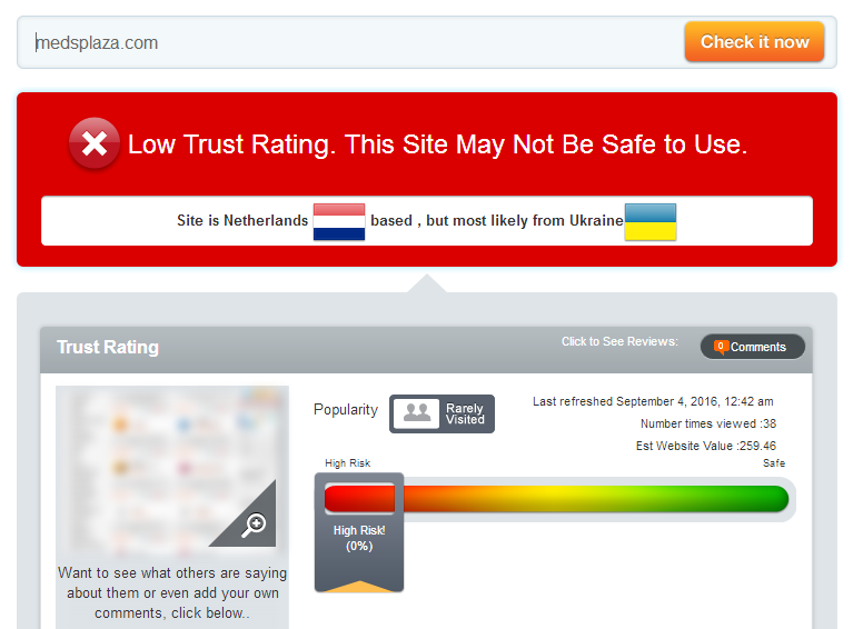 Scamadvisor Trust Rating for Meds Plaza