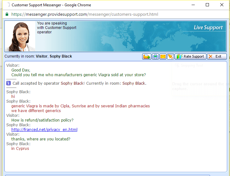 Customer Service Support via Live Chat on Franced.net