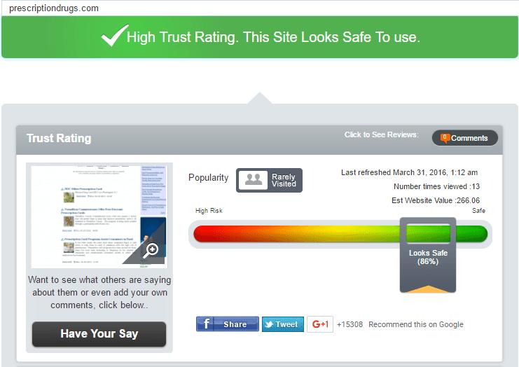 PrescriptionDrugs Trust Rating by Scamadviser