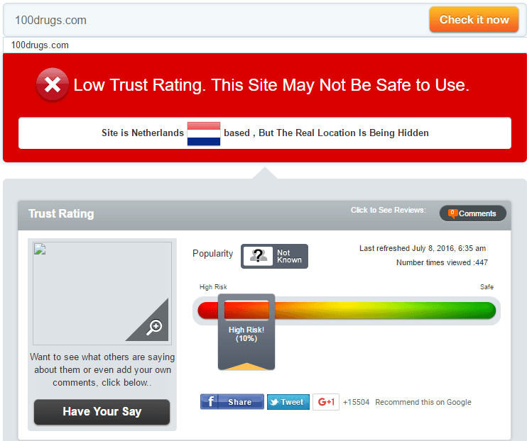 100drugs Trust Rating by Scamadviser