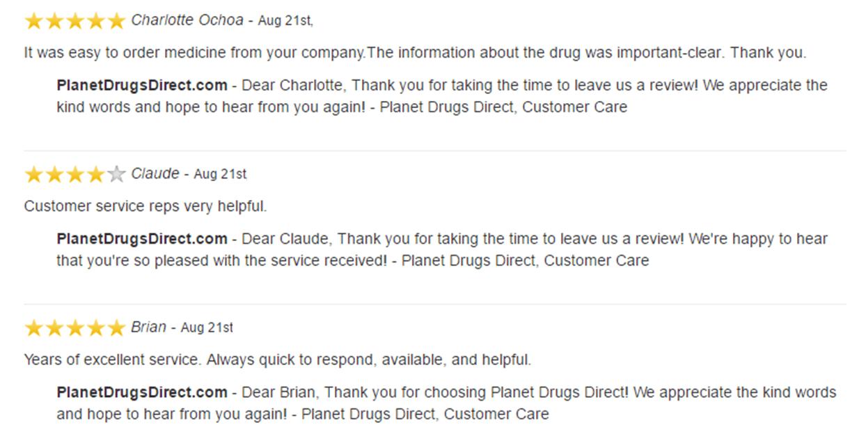 PlanetDrugsDirect.com recent feedback