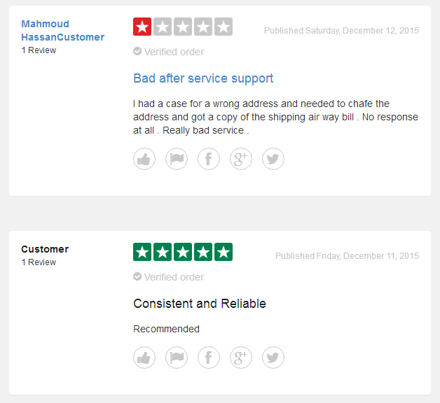 And some customers are not satisfied with the service