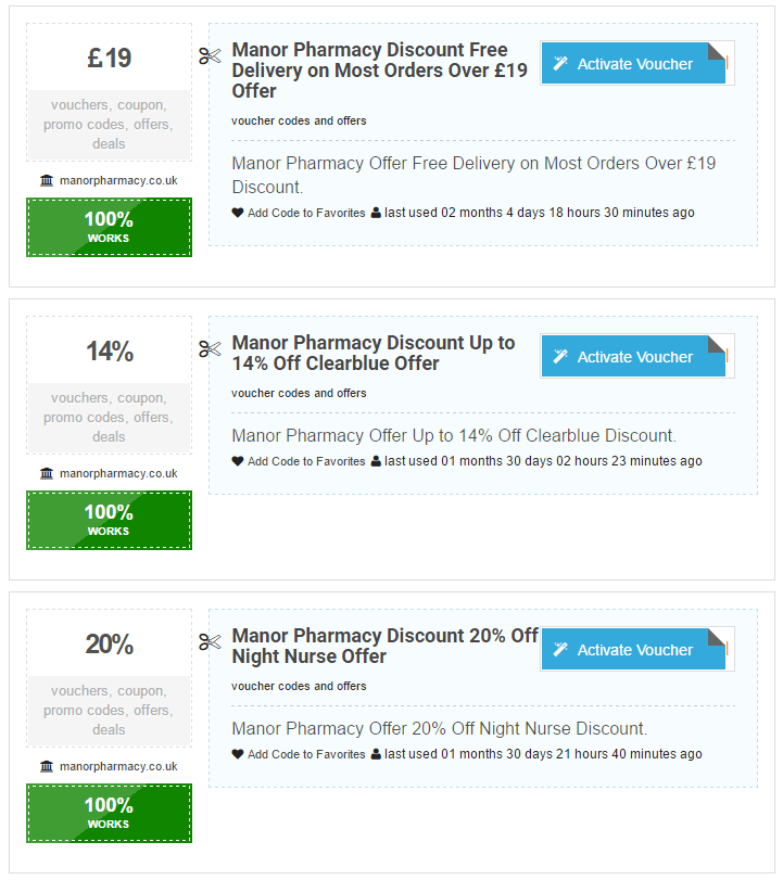 ManorPharmacy.co.uk Discount Offers
