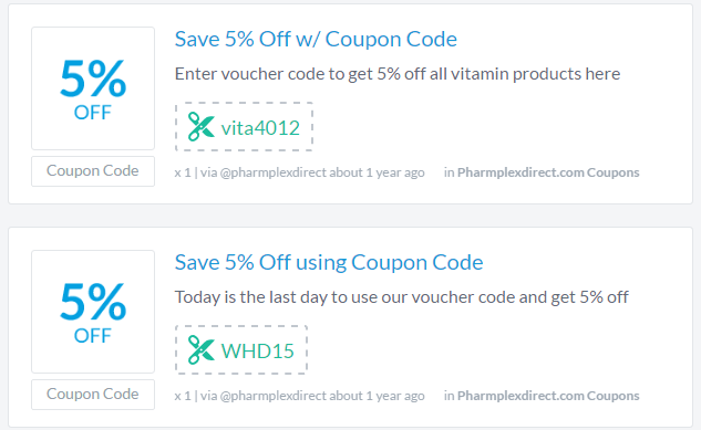 Pharmplexdirect.com does provide some coupons