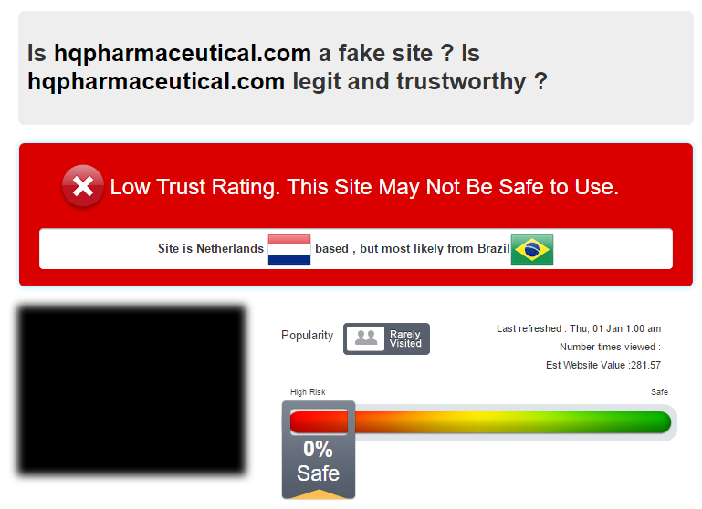 HQ Pharmaceutical Trust Rating by Scamadvsior