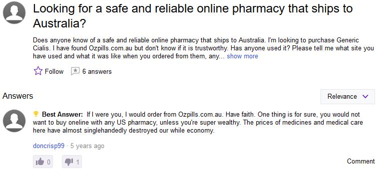 OzPills.com Reviews on Yahoo