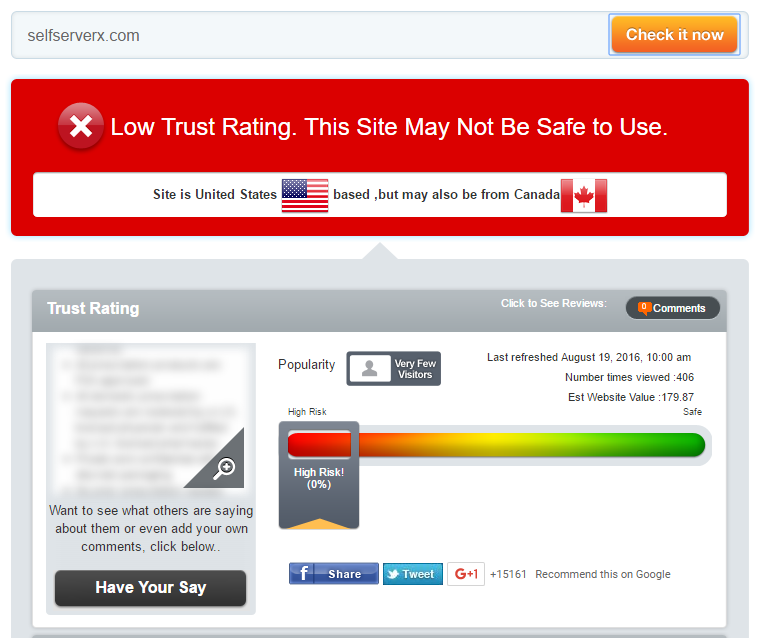Selfserverx.com Trust Rating