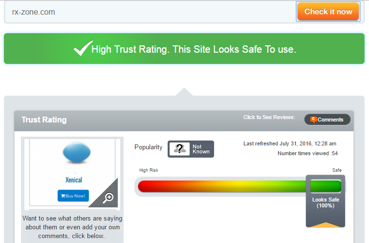 Rx-Zone.com Trust Rating by Scamadvisor