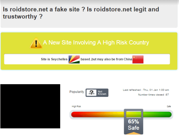 Safety Report of Roidstore.net by Scamadvisor