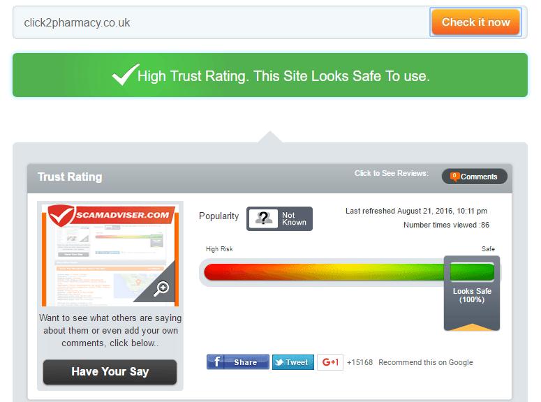 Click2Pharmacy.co.uk Trust Rating