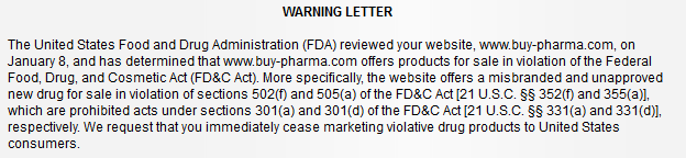 Buy-Pharma.co Is Warned by US FDA!