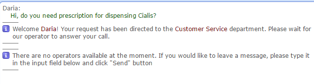 Customer Service Support via Live Chat on Prima-Med.com