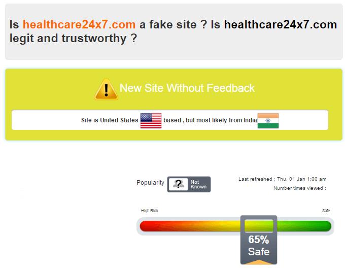 Scamadviser Report on Health Care 24 x 7