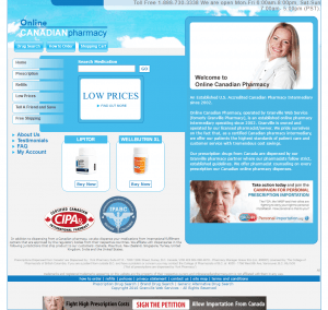 Front Page of Online Canadian Pharmacy