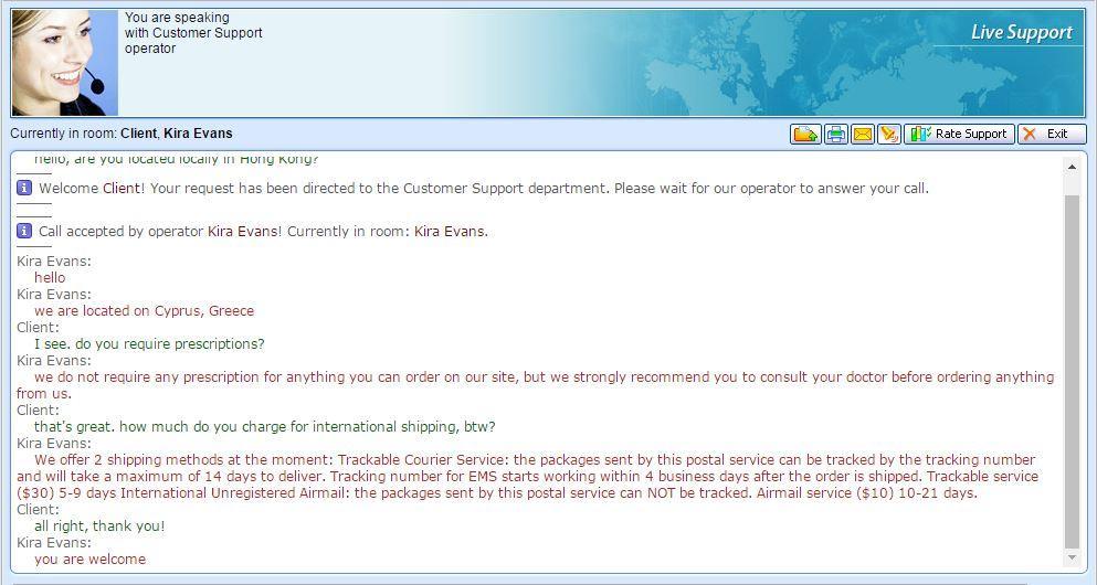 Customer Service Support via Live Chat on Hongkong-Rx.com
