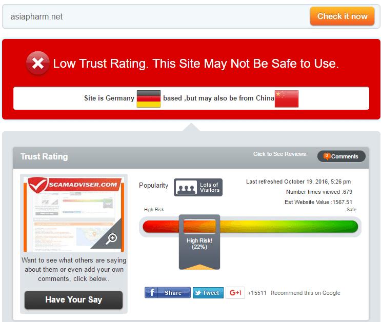 Asia Pharm Trust Rating by Scamadviser