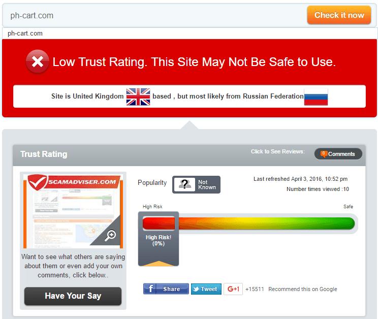 Ph-Cart Trust Rating by Scamadviser