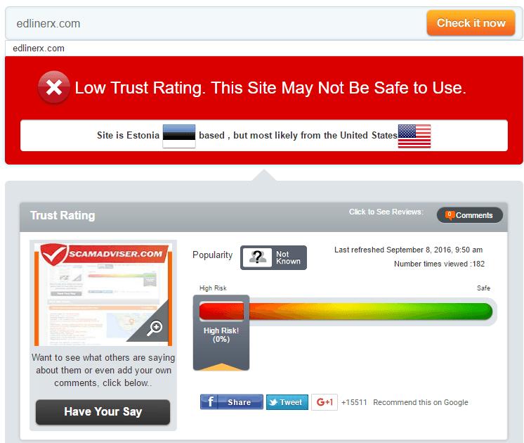 Edlinerx.com Trust Rating by Scamadviser