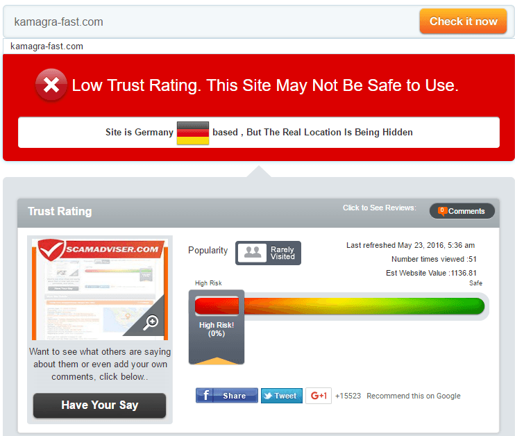 Kamagra Fast Trust Rating by Scamadviser
