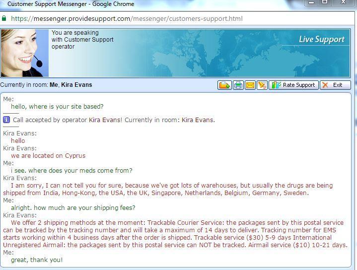 Customer Service Support via Live Chat on Sunrx.net