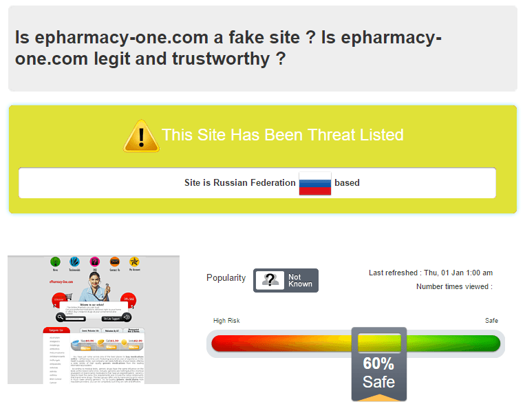 Scamadviser Report on Epharmacy-One.com