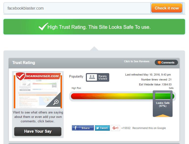 Facebookblaster Trust Rating by Scamadviser