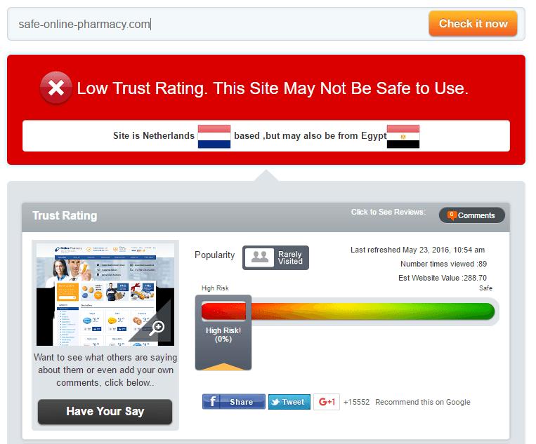 Safe Online Pharmacy Trust Rating by Scamadviser