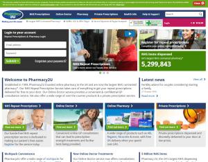 Home Page of Pharmacy2u.co.uk