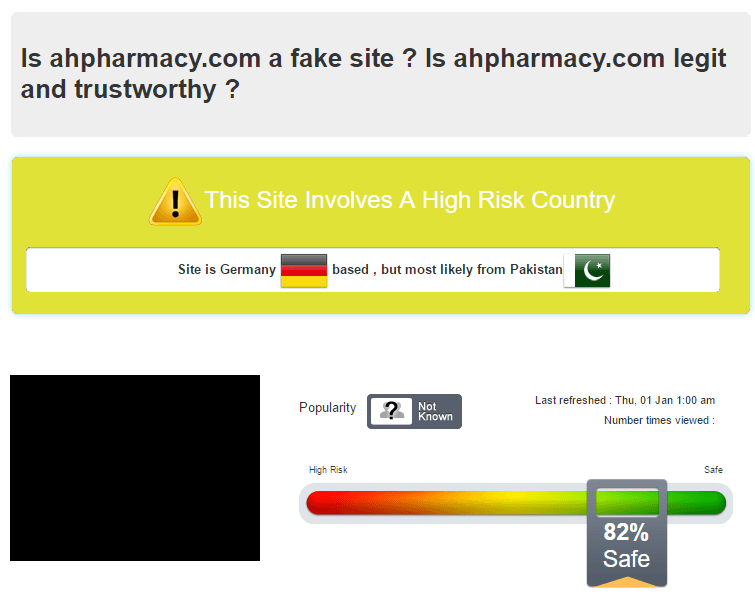 Safety Report of Ahpharmacy by Scamadviser