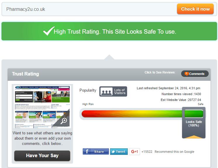 Pharmacy2u Trust Rating by Scamadviser