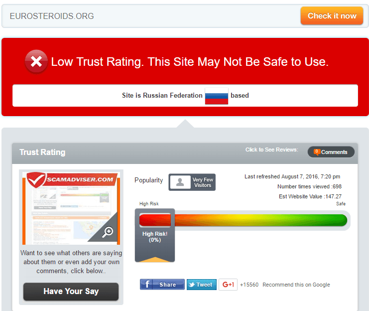 Eurosteroids Trust Rating by Scamadviser