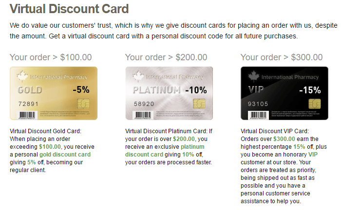 Payment via virtual discount card on Official-Drugstore.com