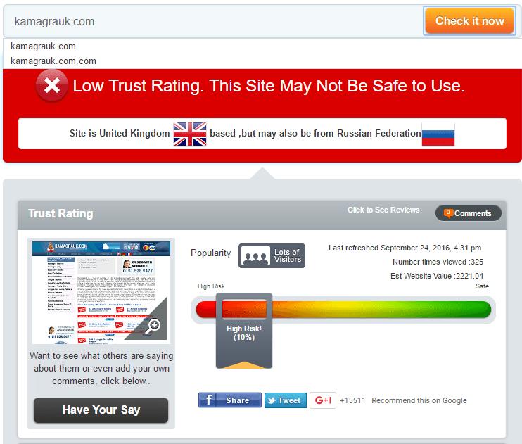 Kamagra Uk Trust Rating by Scamadviser