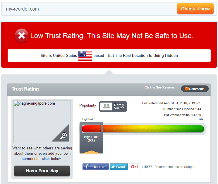 My-Reorder Trust Rating by Scamadviser
