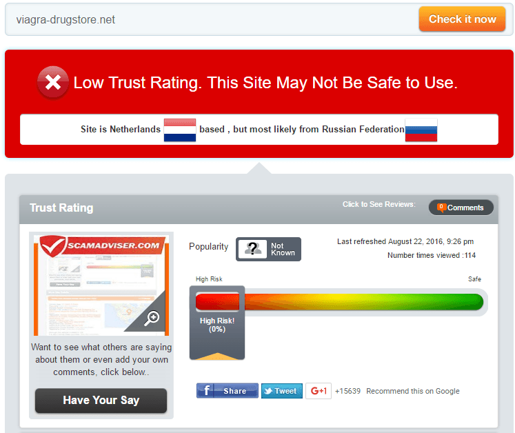 Viagra Drug Store Trust Rating by Scamadviser