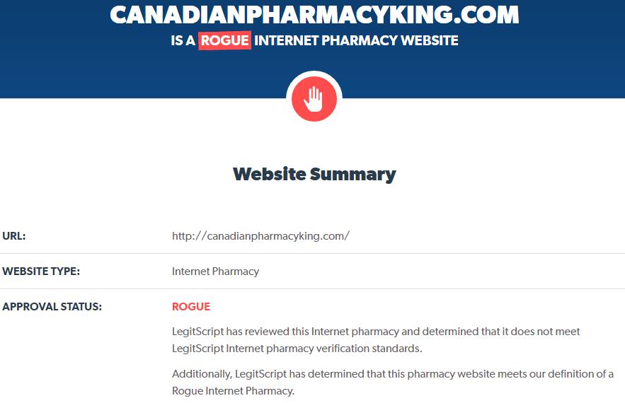 Reputation analysis of Canadian Pharmacy King by LegitScript