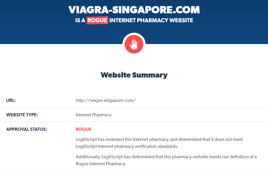 Reputation analysis of Viagra Singapore by LegitScript