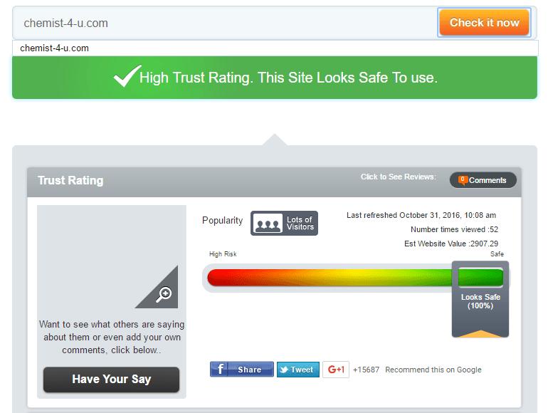 Chemist-4-u.com Trust Rating by Scamadviser