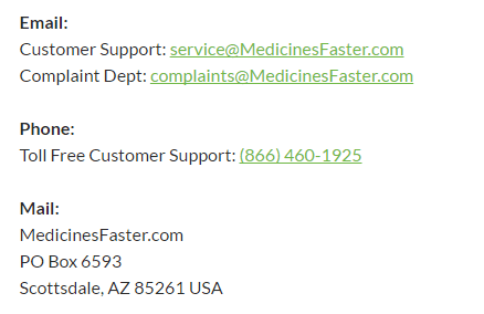 Contact No. of Medicinesfaster.com